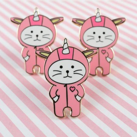 Unicorn cat enamel pin
